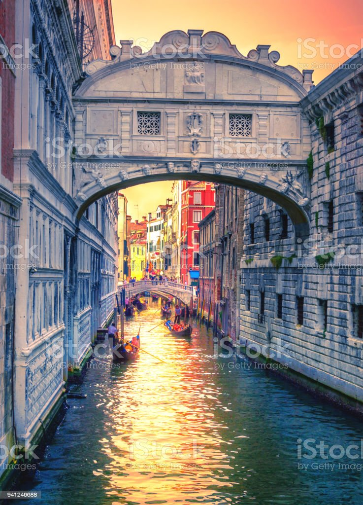 Bridge of Sighs at Doge's Palace, in Venice, Italy stock photo