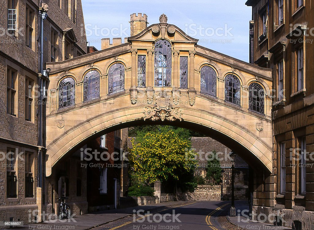 Bridge of Sighs at Hertford College in Oxford, England royalty-free stock photo