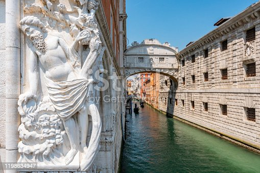 istock Bridge of Sighs between the Doge's Palace and the prison Prigioni Nuove of Venice in Italy. 1198634947