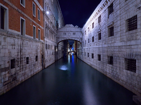 bridge of sighs by night in venice Italy during november Autumn