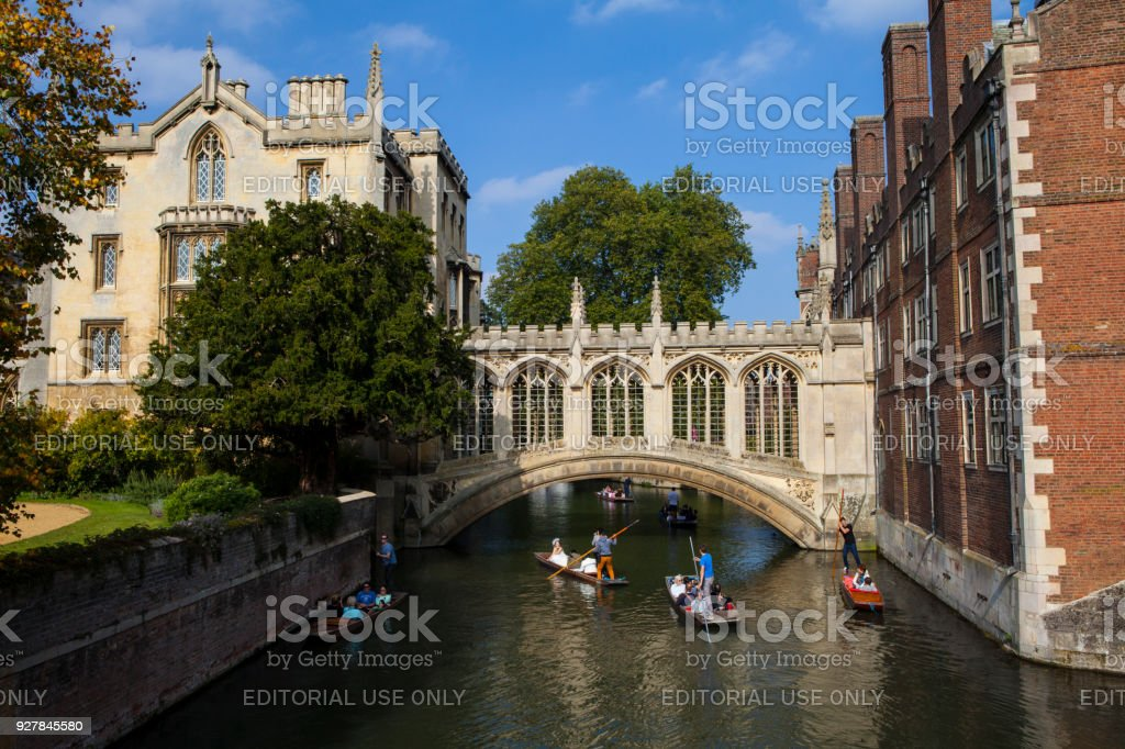Bridge of Sighs in Cambridge, UK stock photo