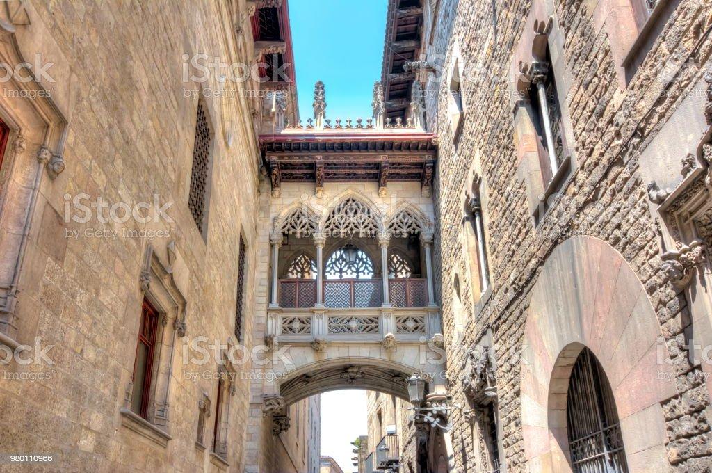 Bridge Of Sighs Pont Dels Sospirs In Gothic Quarter Barcelona Spain Royalty