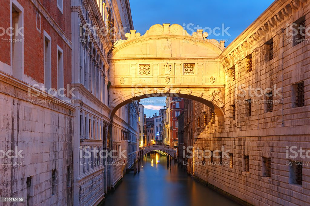 Bridge of Sighs or Ponte dei Sospiri in Venice stock photo