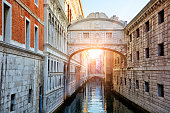 The Bridge of Sighs in Venice was built in 1600, Italy