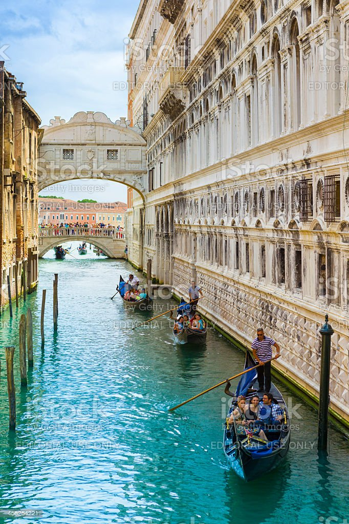 Bridge of Sighs with gondolas stock photo