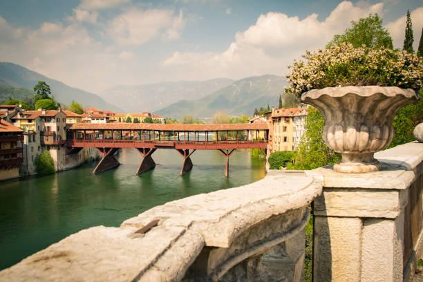 Bridge of the Alpini in Bassano del Grappa, Vicenza, Italy. - foto stock
