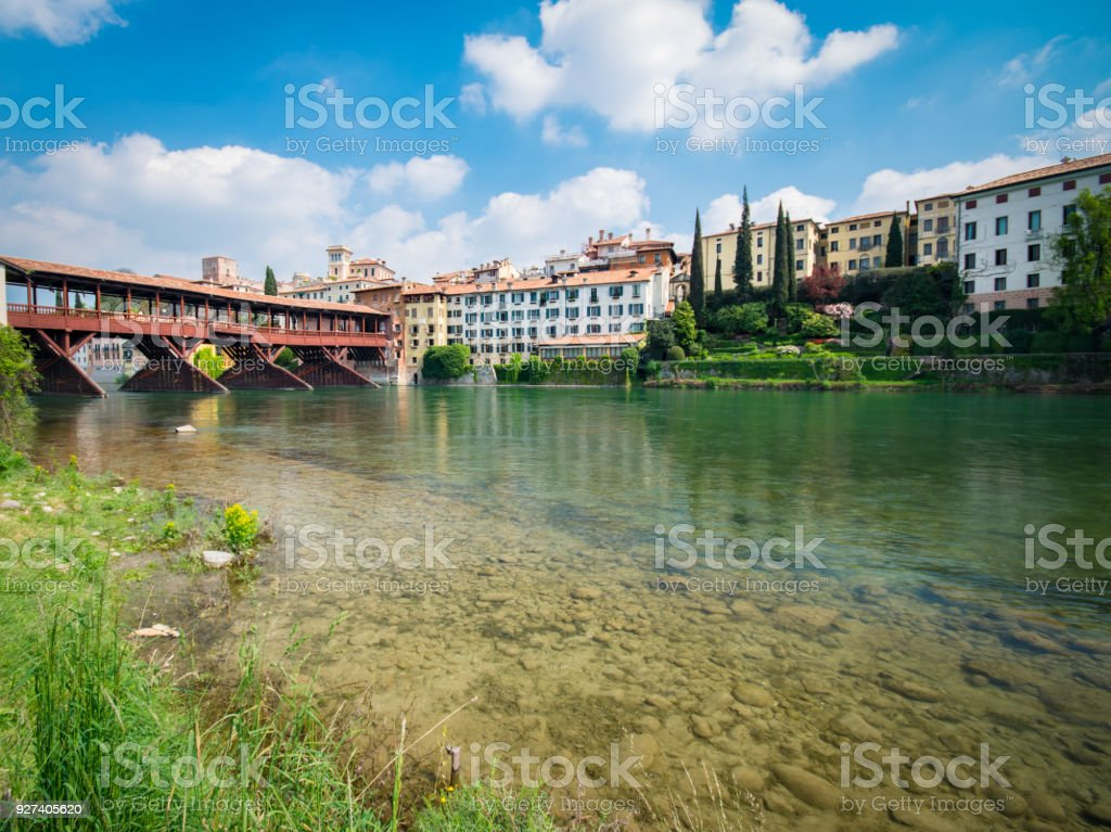 Bridge of the Alpini in Bassano del Grappa, Vicenza, Italy. - foto stock