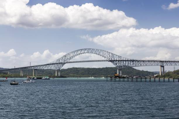 Bridge of the Americas Pacific Entrance to Panama Canal stock photo