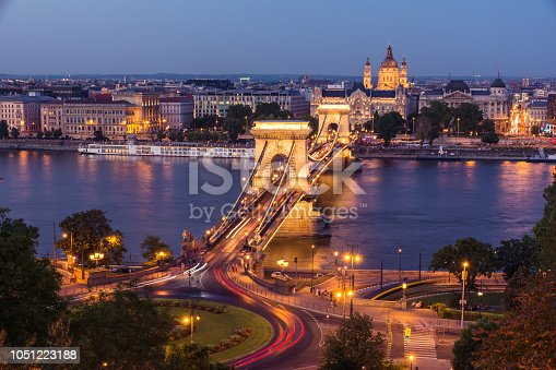 View of the Chain Bridge at the blue hour from Buda. Budapest, Hungary