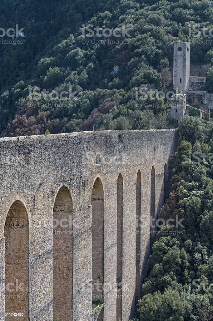 Ponte delle torri in Spoleto stock photo