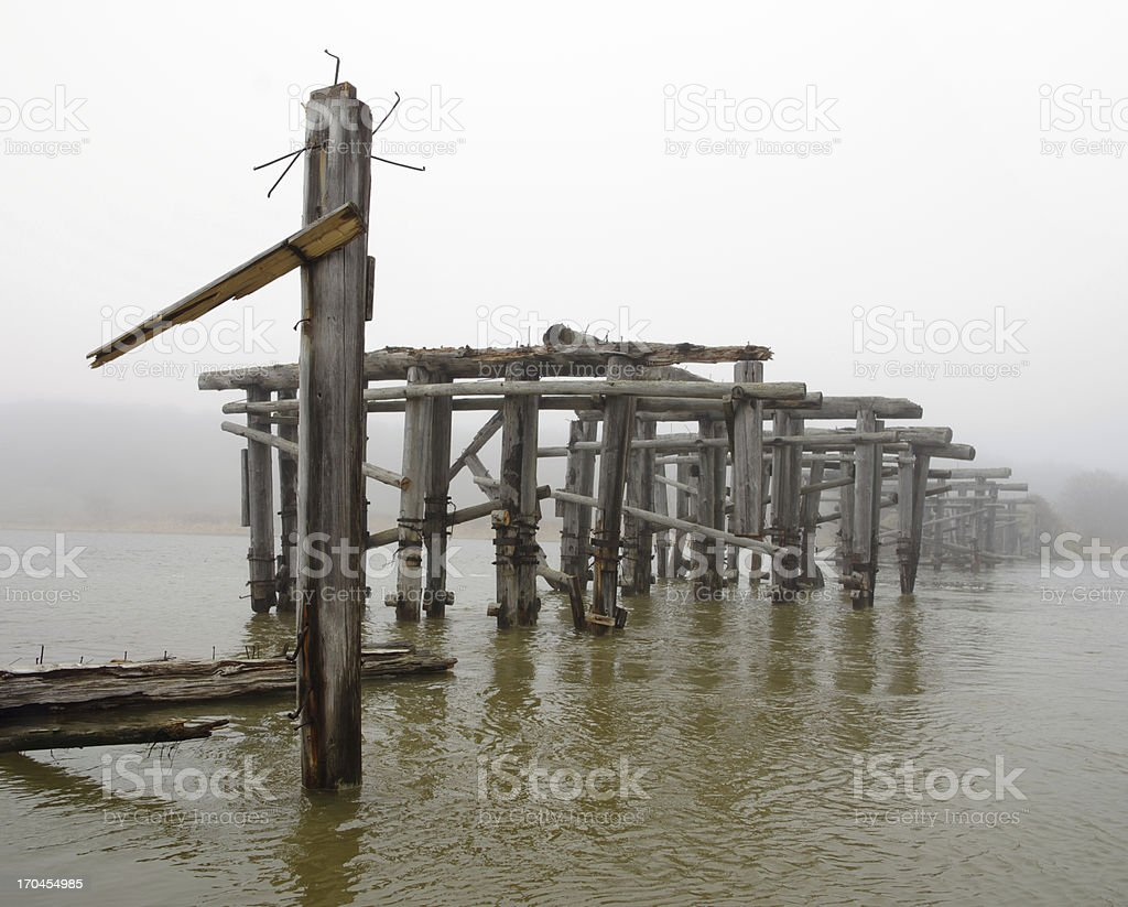 Bridge old log mist royalty-free stock photo