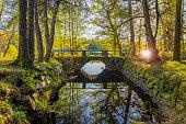 Bridge, old stone bridge in autumn with sun shining trough trees reflected in water