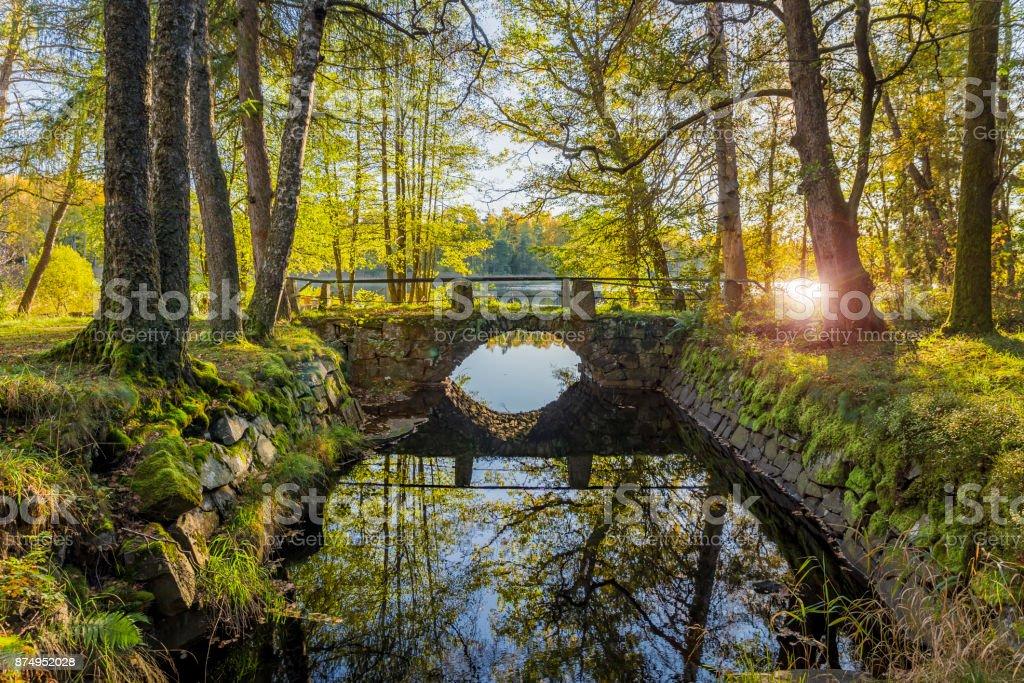 Bron, gamla stenbron i höst bildbanksfoto