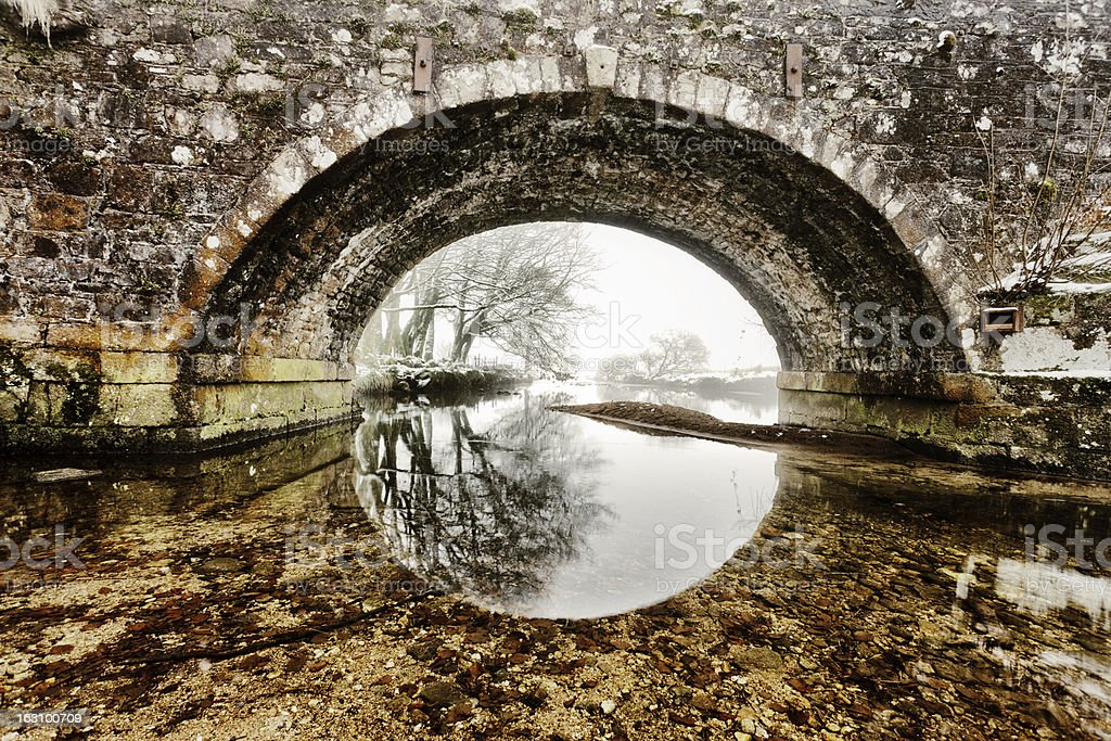 Bridge on a winter's morning stock photo