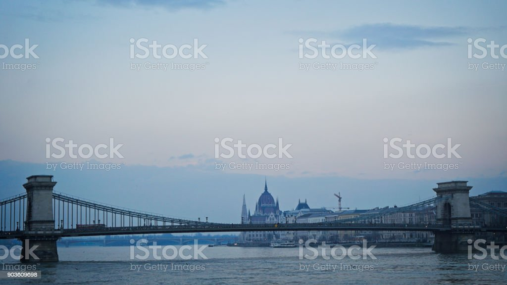 Bridge on Danube river and Budapest in Hungary stock photo