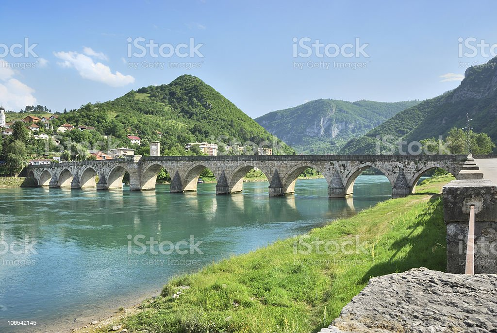 Bridge on Drina stock photo