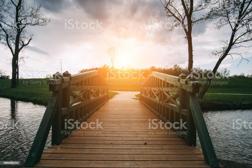 Bridge on lake foto de stock libre de derechos
