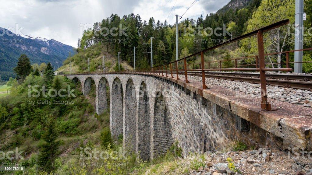Bridge on Landwasser Viaduct bridge, Switzerland stock photo