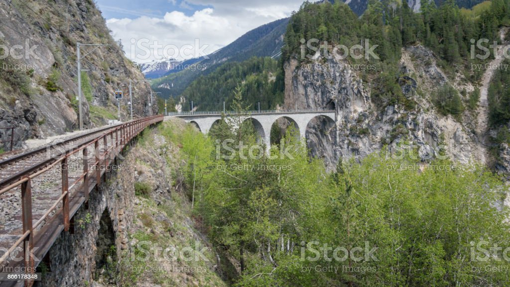 Bridge on Landwasser Viaduct bridge, Switzerland stock photo