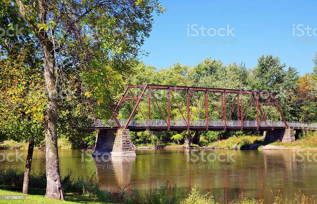 Bridge on Peaceful River stock photo