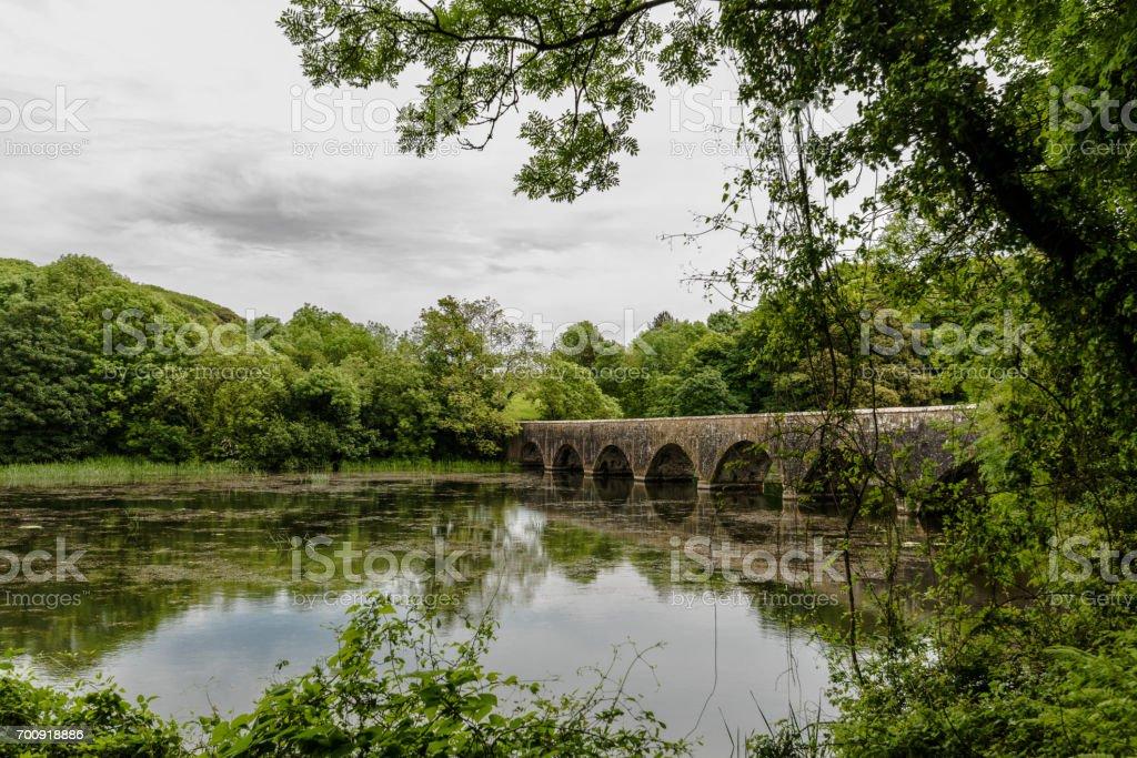 Bridge on the fish pond - Stackpole Park stock photo