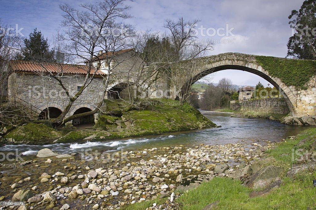 Bridge on the MIera river (Cantabria) stock photo