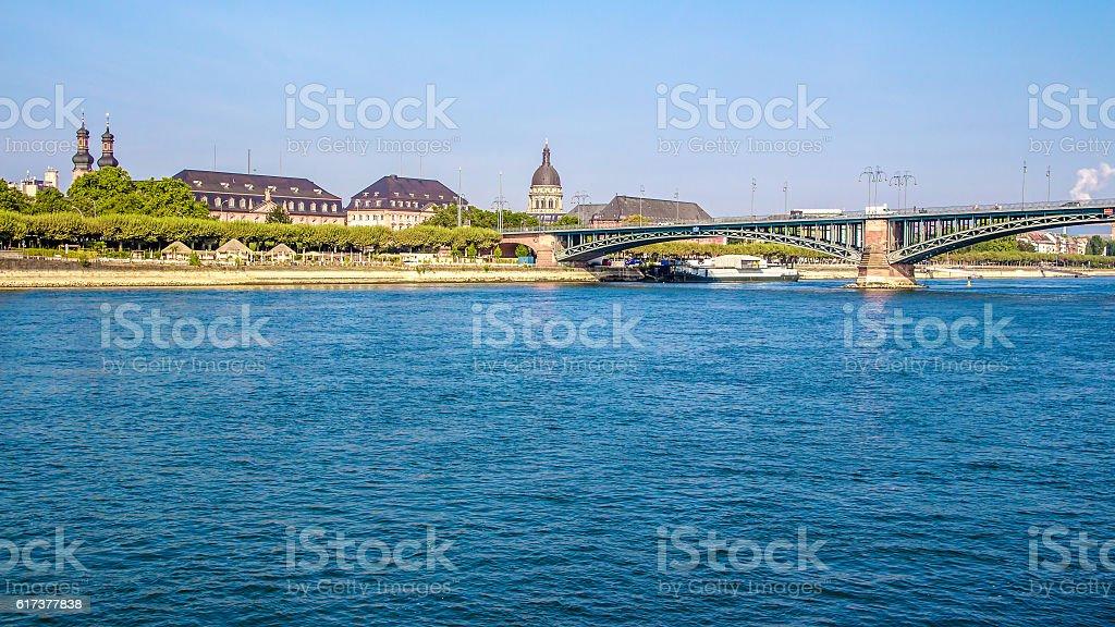 Bridge on the Rhine river, in Mainz, Germany stock photo