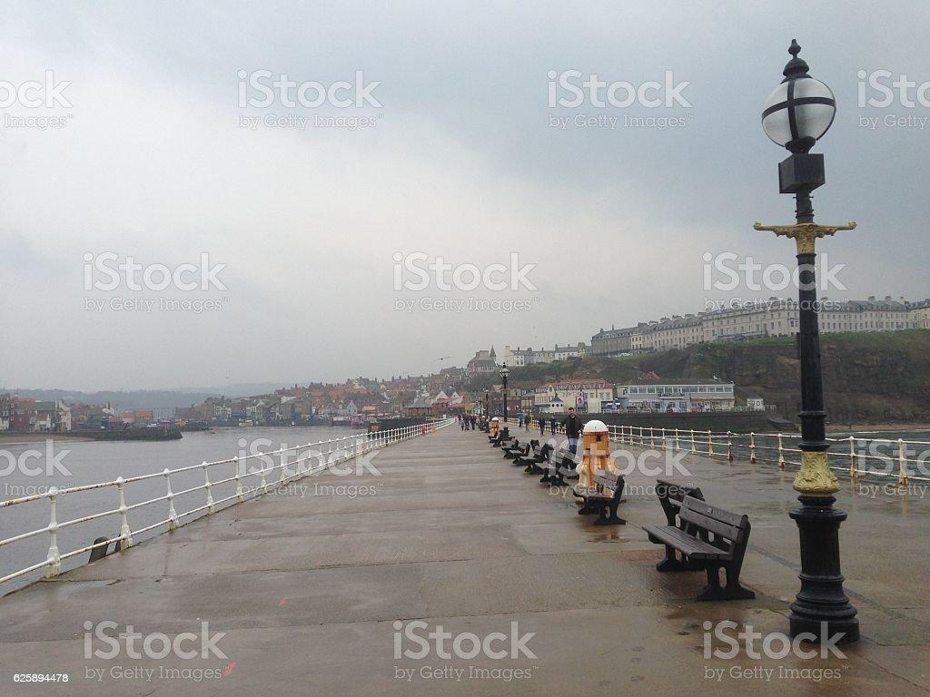 Bridge on the sea in Whitby stock photo