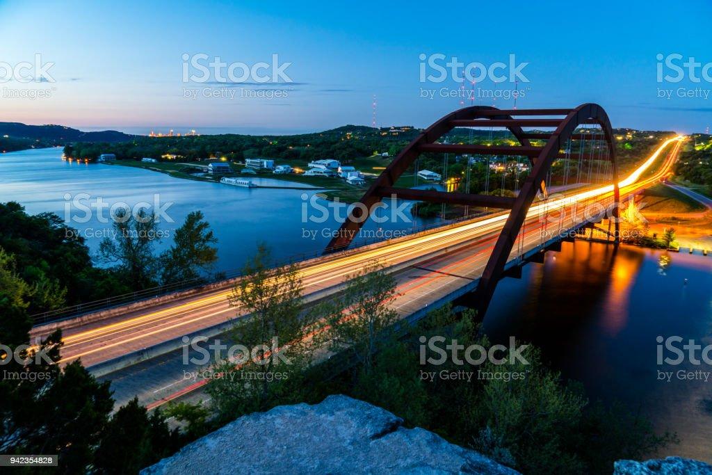 360 bridge or Pennybacker bridge before dawn Austin Texas cityscape stock photo