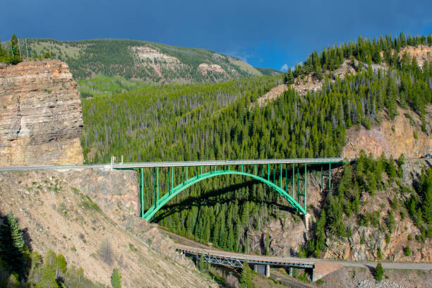 Bridge Over a Bridge Over the Eagle River Bridge on road to Red Cliff Colorado near ski resort town of Vail. minturn colorado stock pictures, royalty-free photos & images