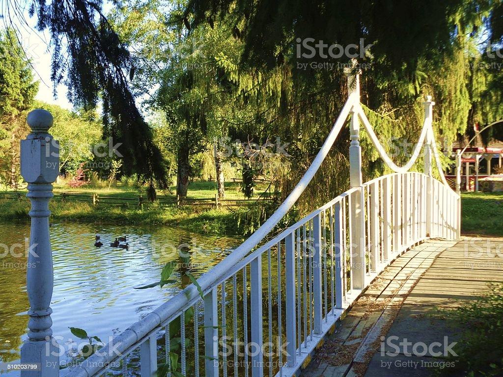 Bridge over a pond stock photo