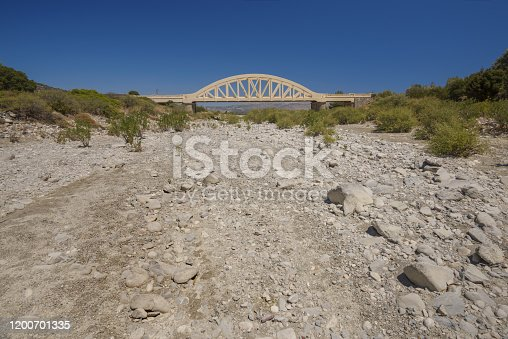 Bridge over a ragged river, Rhodes, Greece