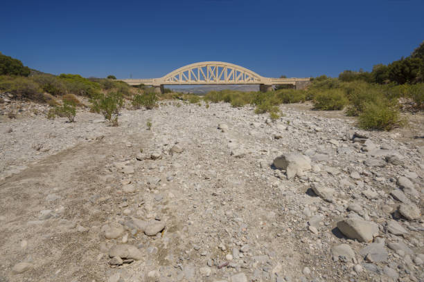 Bridge over a ragged river, Rhodes, Greece stock photo