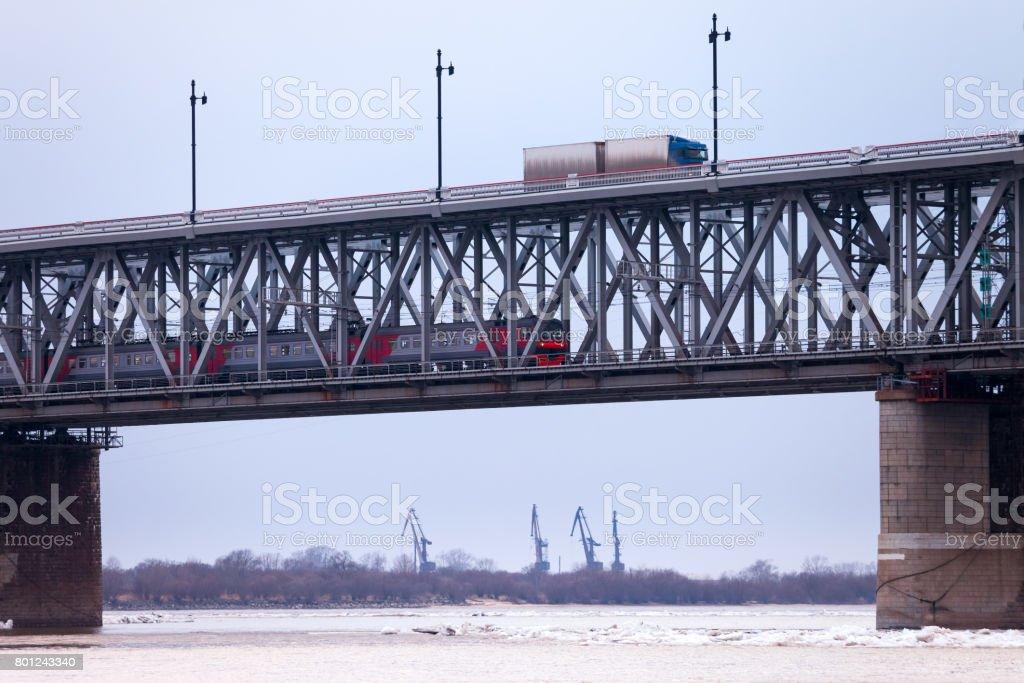 Brücke über den Fluss Amur in Chabarowsk – Foto
