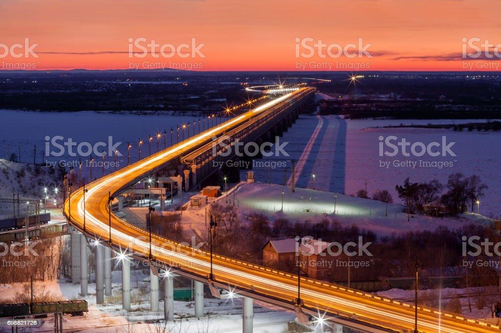 Brücke über den Fluss Amur in Chabarowsk, Russland – Foto