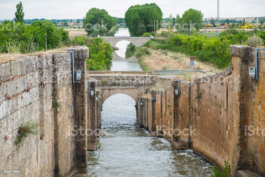 Bridge over an Irrigation canal stock photo