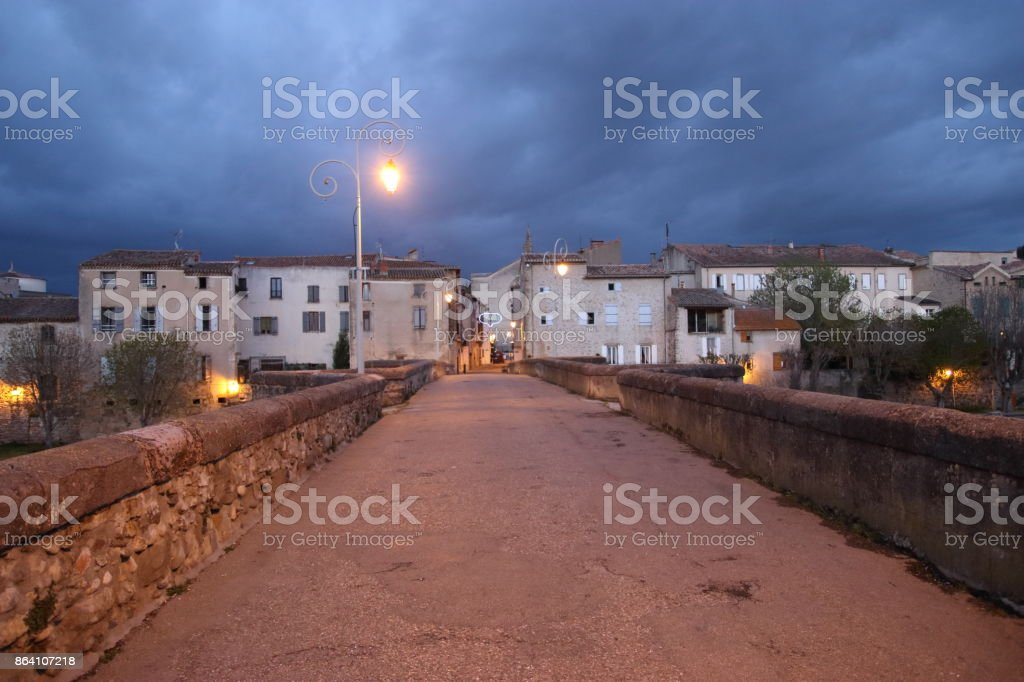 bridge over Aude river in french town of Limoux , France stock photo