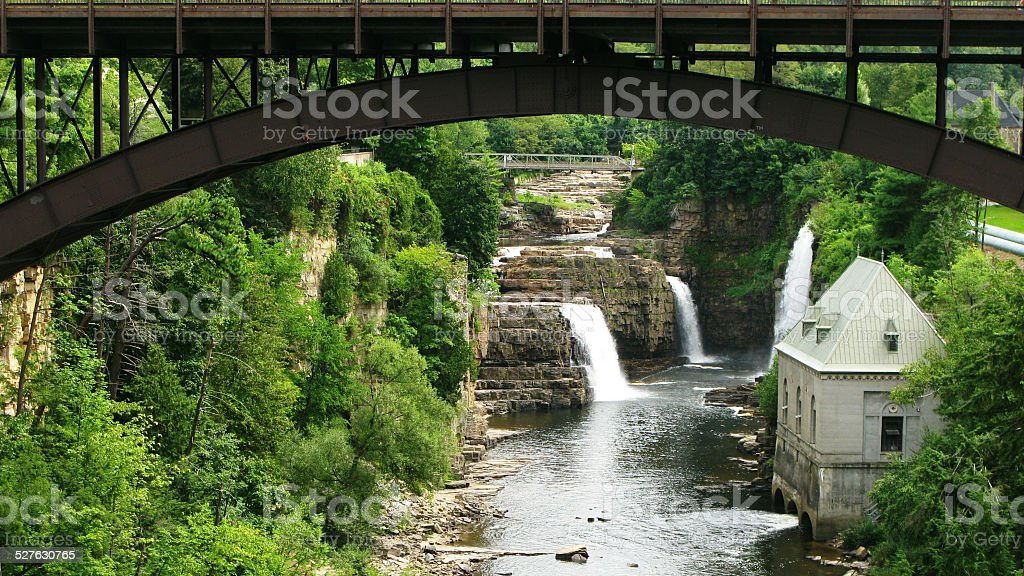 Bridge over Ausable River, Ausable Chasm, New York stock photo