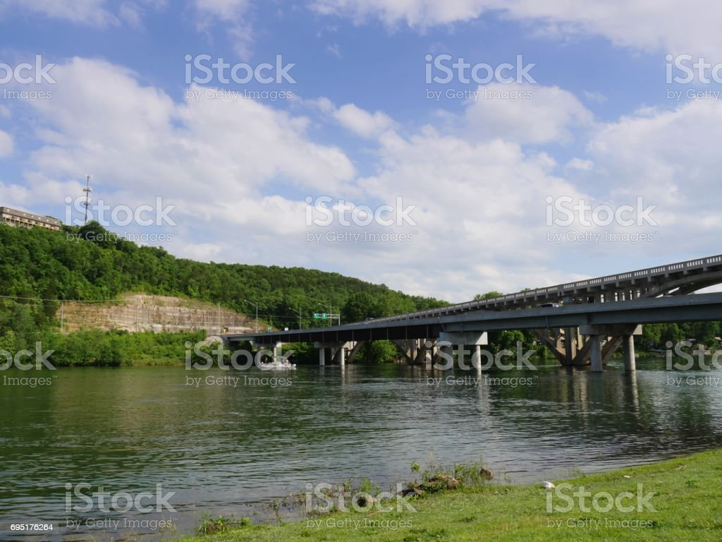 Bridge over Branson Landing, Missouri stock photo