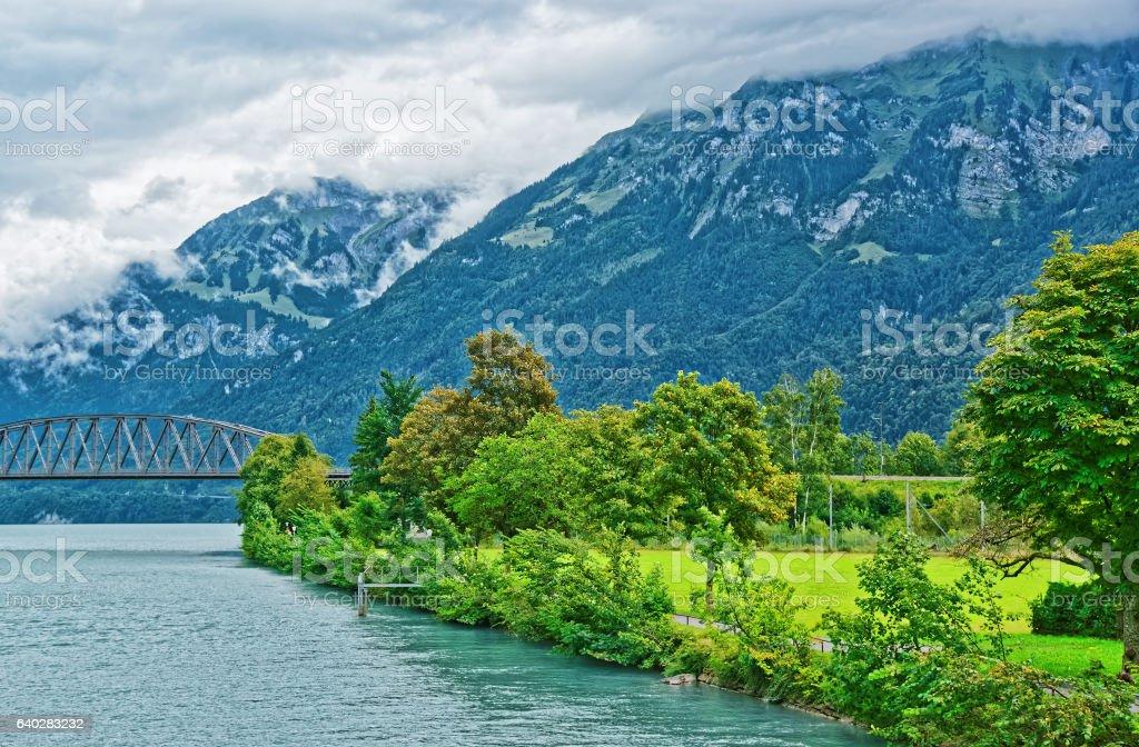 Bridge over Brienz Lake and Brienzer Rothorn mountain Bern Switzerland stock photo