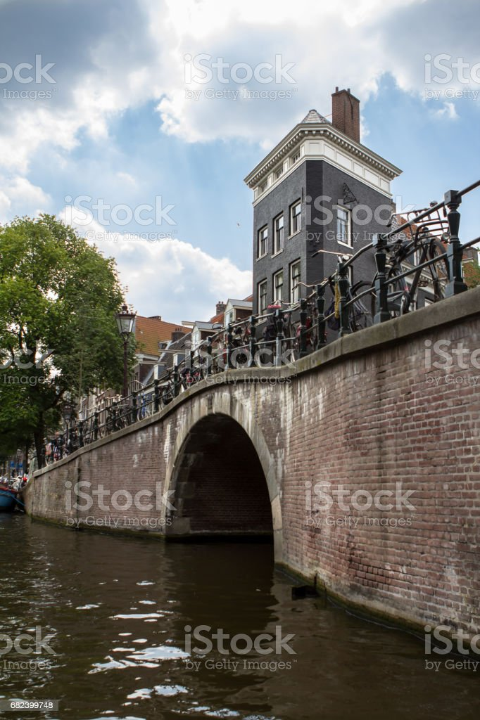 Bridge over canal in Amsterdam royalty-free stock photo