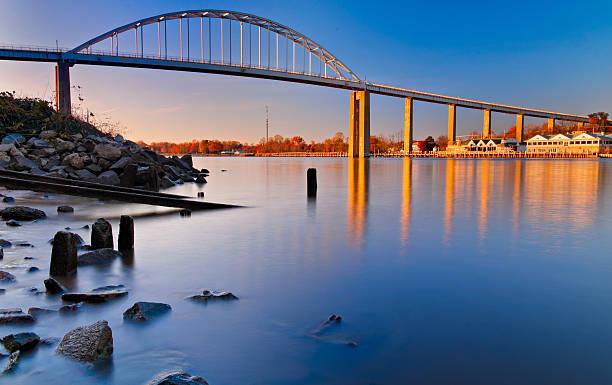 Bridge over Canal in Chesapeake City, Maryland. stock photo