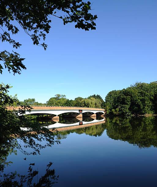 Bridge over Carnegie Lake stock photo