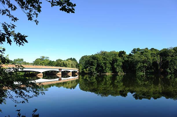 Bridge over Carnegie Lake under a blue sky stock photo