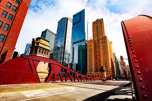 Bridge over Chicago river in city downtown