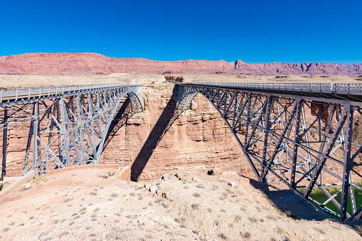 Navajo Bridge near Page, Arizona spans the Colorado River.