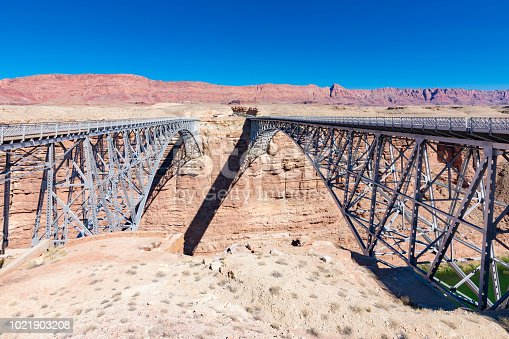 Navajo Bridge near Page, Arizona spans the Colorado River.