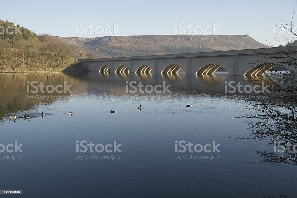 Bridge over Derwent Valley reservoirs in Peak District royalty-free stock photo