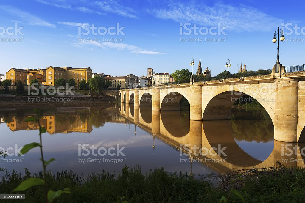 bridge over Ebro river. Logrono, Spain stock photo