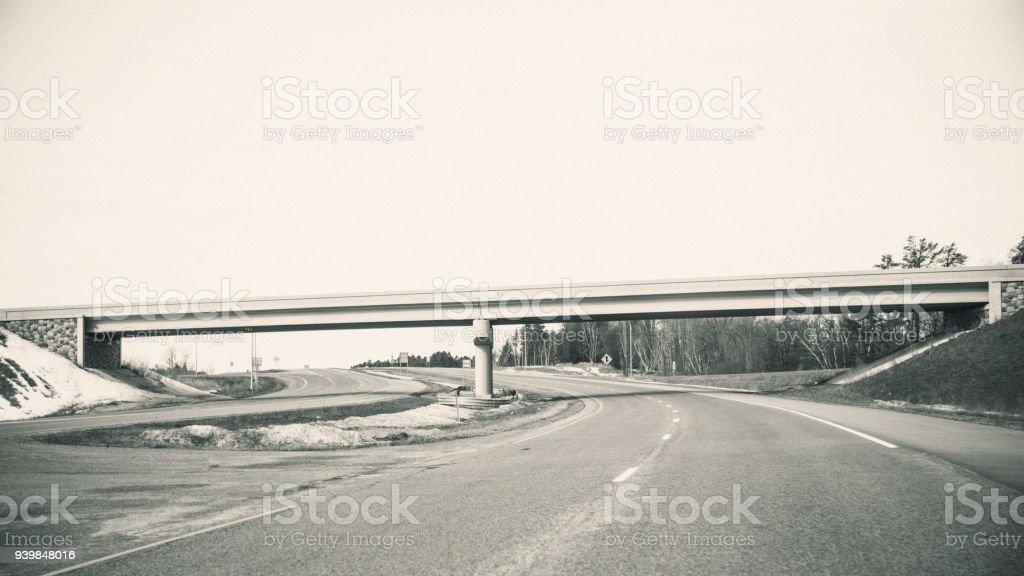 Bridge Over Empty Divided Multi-Lane Highway stock photo